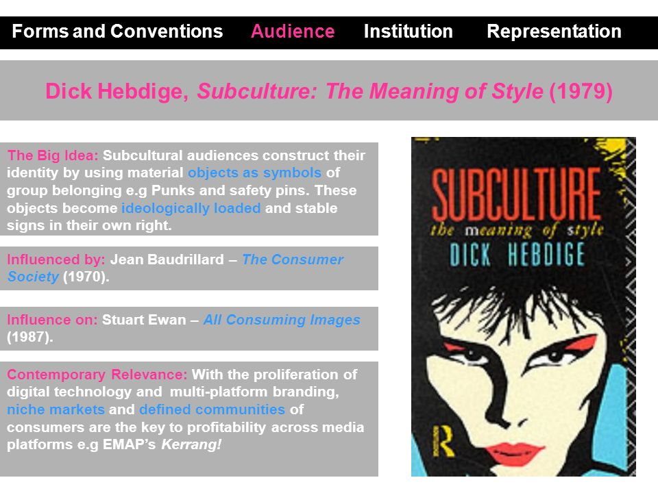 Dick Hebdige, Subculture: The Meaning of Style (1979) Forms and Conventions Audience Institution Representation Contemporary Relevance: With the proli