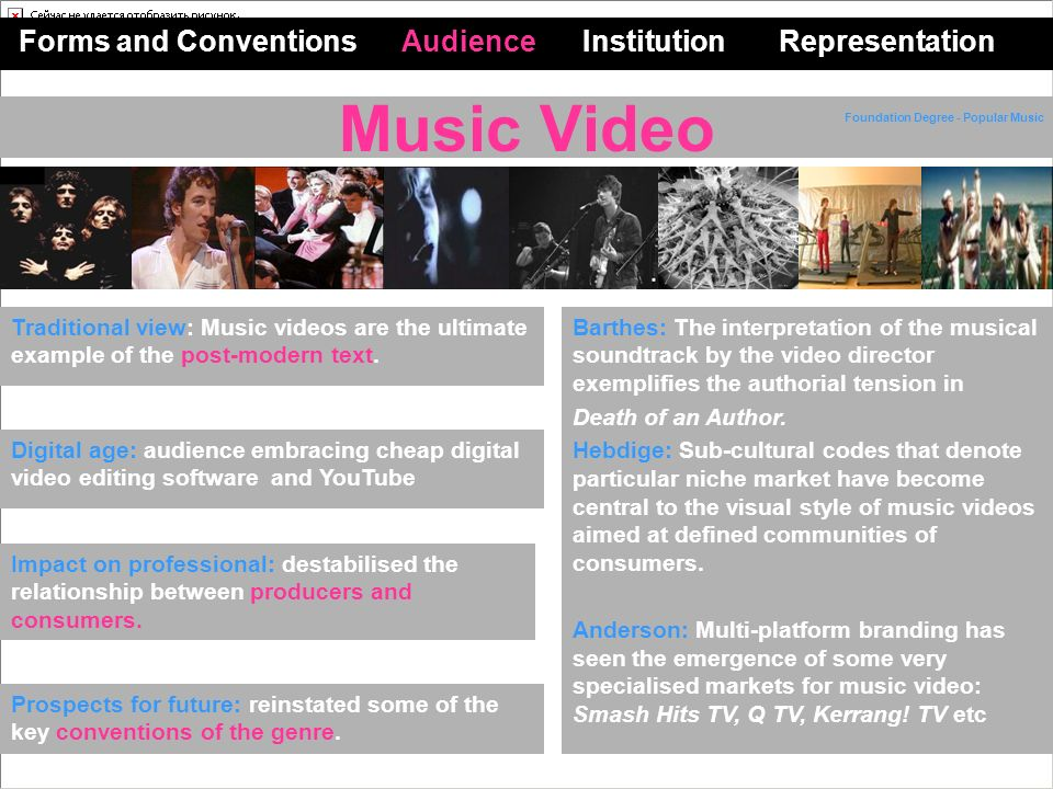 Music Video Forms and Conventions Audience Institution Representation Impact on professional: destabilised the relationship between producers and consumers.