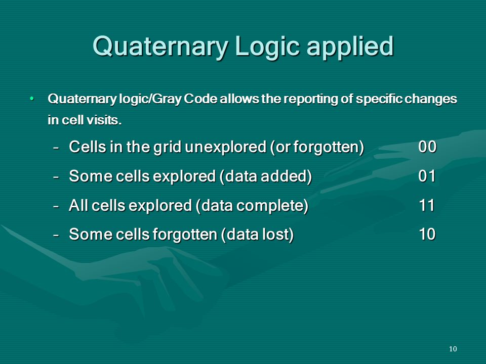 10 Quaternary Logic applied Quaternary logic/Gray Code allows the reporting of specific changes in cell visits.Quaternary logic/Gray Code allows the reporting of specific changes in cell visits.