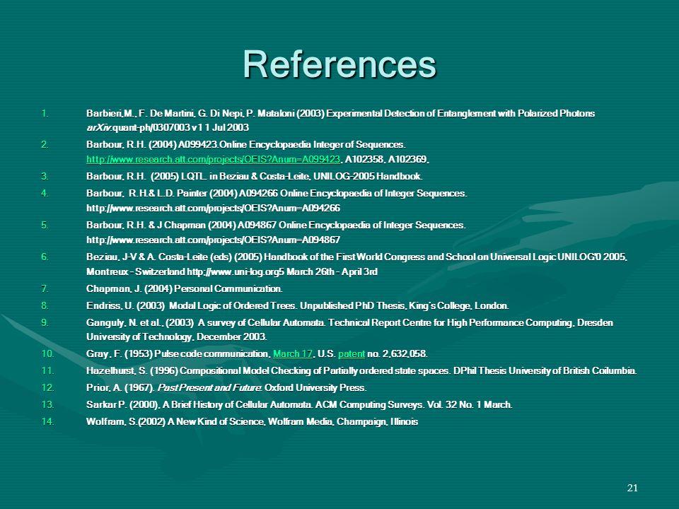 21 References 1.Barbieri,M., F. De Martini, G. Di Nepi, P.