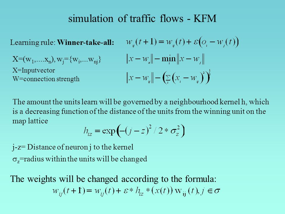 Learning rule: Winner-take-all: The amount the units learn will be governed by a neighbourhood kernel h, which is a decreasing function of the distanc