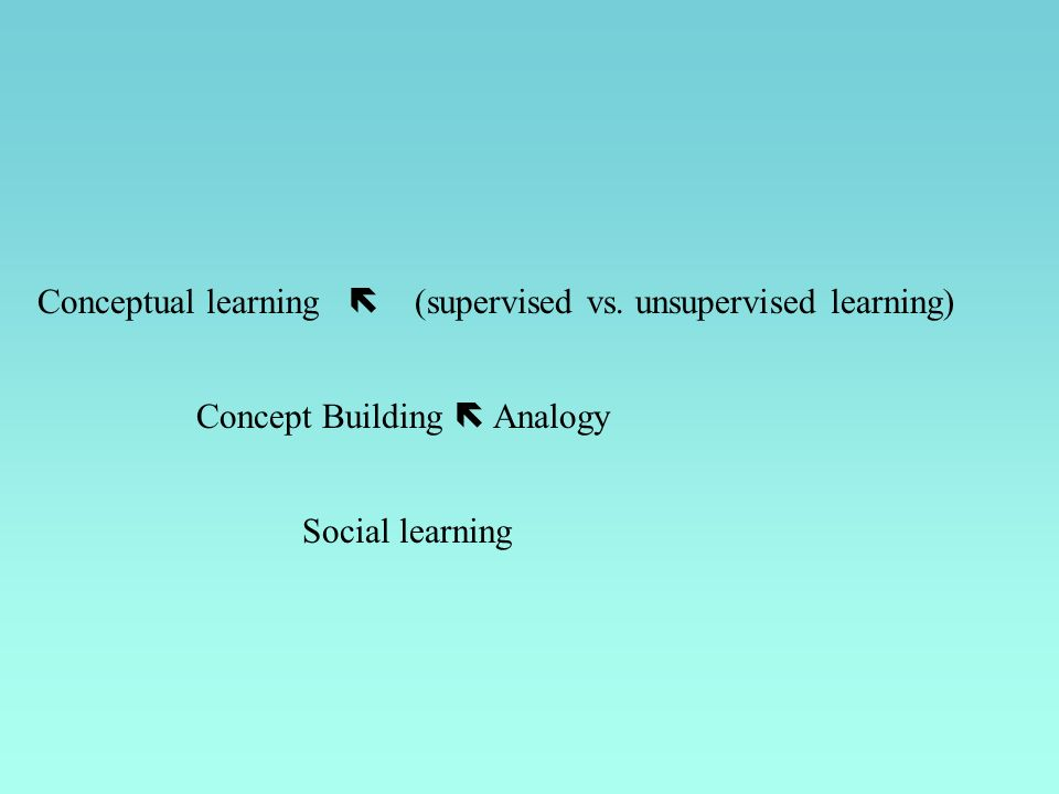 Concept Building Analogy Conceptual learning (supervised vs. unsupervised learning) Social learning