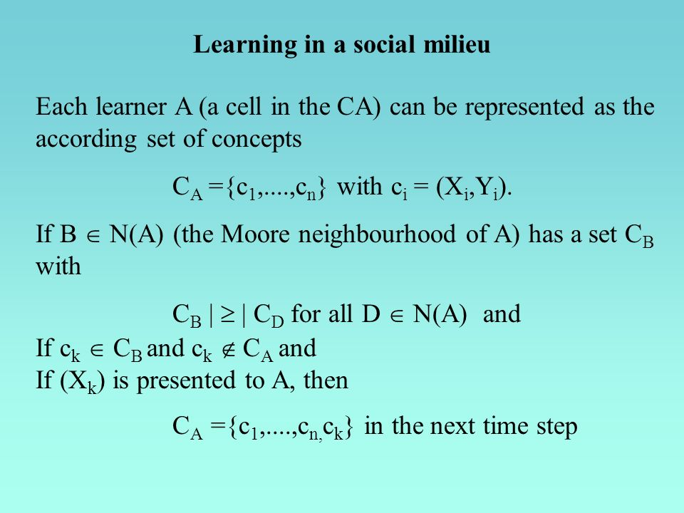 Each learner A (a cell in the CA) can be represented as the according set of concepts C A ={c 1,....,c n } with c i = (X i,Y i ). If B N(A) (the Moore