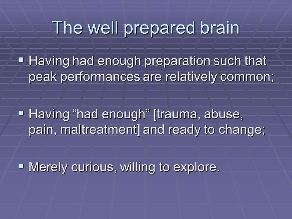 The well prepared brain Having had enough preparation such that peak performances are relatively common; Having had enough preparation such that peak