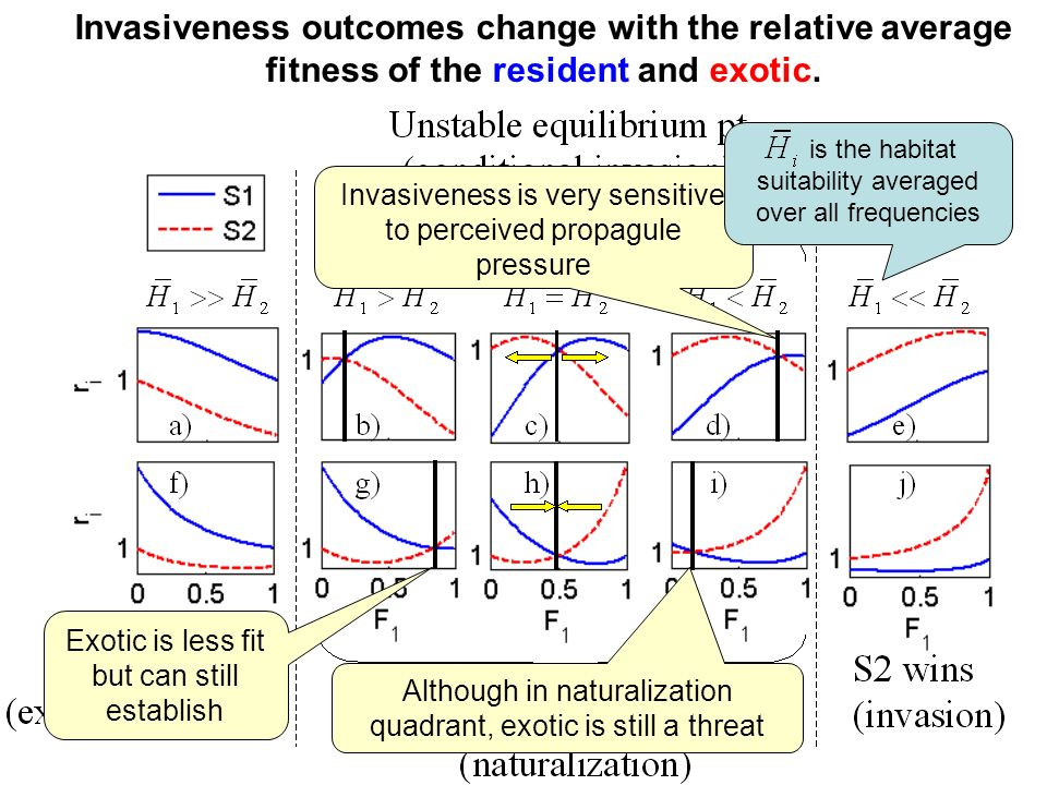 Invasiveness outcomes change with the relative average fitness of the resident and exotic. Invasiveness is very sensitive to perceived propagule press