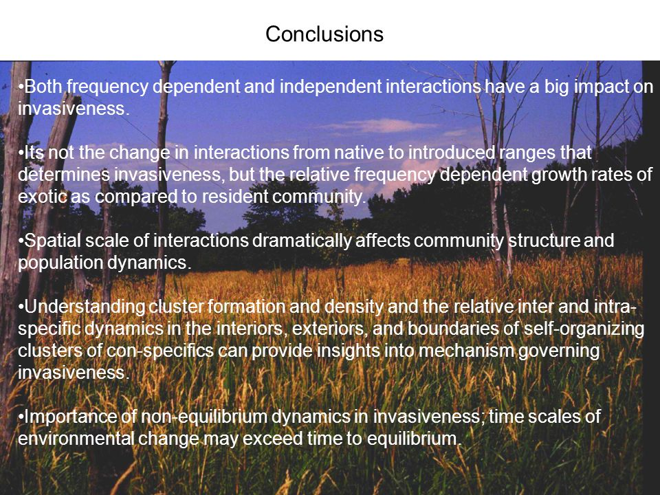 Both frequency dependent and independent interactions have a big impact on invasiveness. Its not the change in interactions from native to introduced