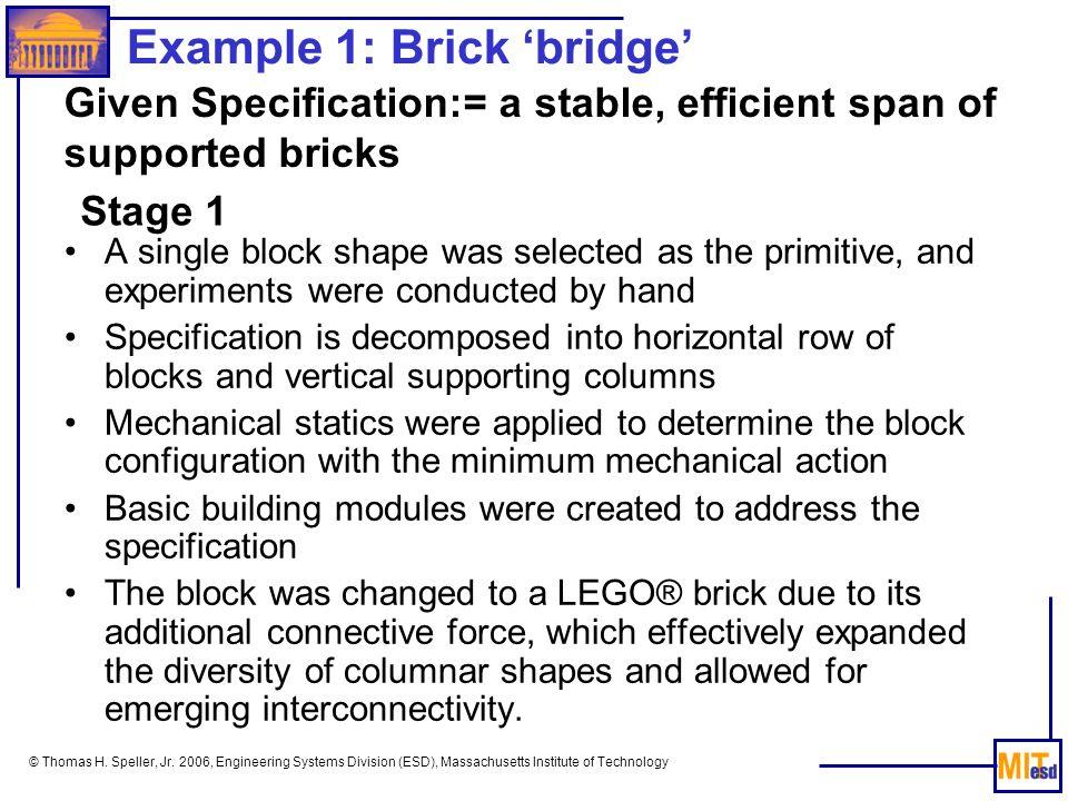 © Thomas H. Speller, Jr. 2006, Engineering Systems Division (ESD), Massachusetts Institute of Technology Example 1: Brick bridge A single block shape