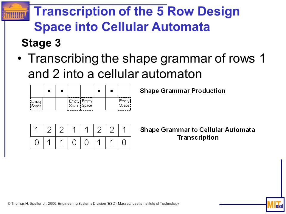 © Thomas H. Speller, Jr. 2006, Engineering Systems Division (ESD), Massachusetts Institute of Technology Transcription of the 5 Row Design Space into