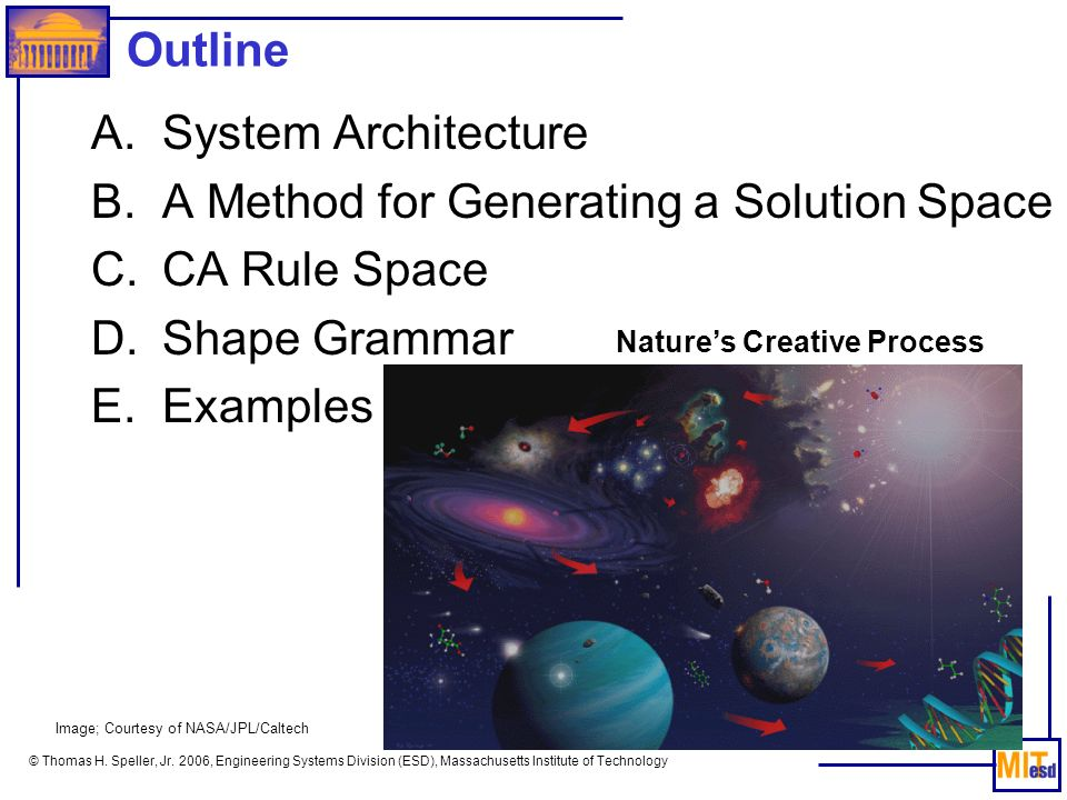 © Thomas H. Speller, Jr. 2006, Engineering Systems Division (ESD), Massachusetts Institute of Technology Outline A.System Architecture B.A Method for