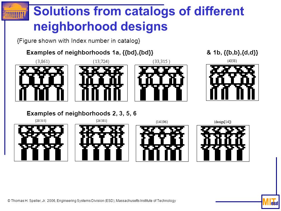 © Thomas H. Speller, Jr. 2006, Engineering Systems Division (ESD), Massachusetts Institute of Technology Solutions from catalogs of different neighbor