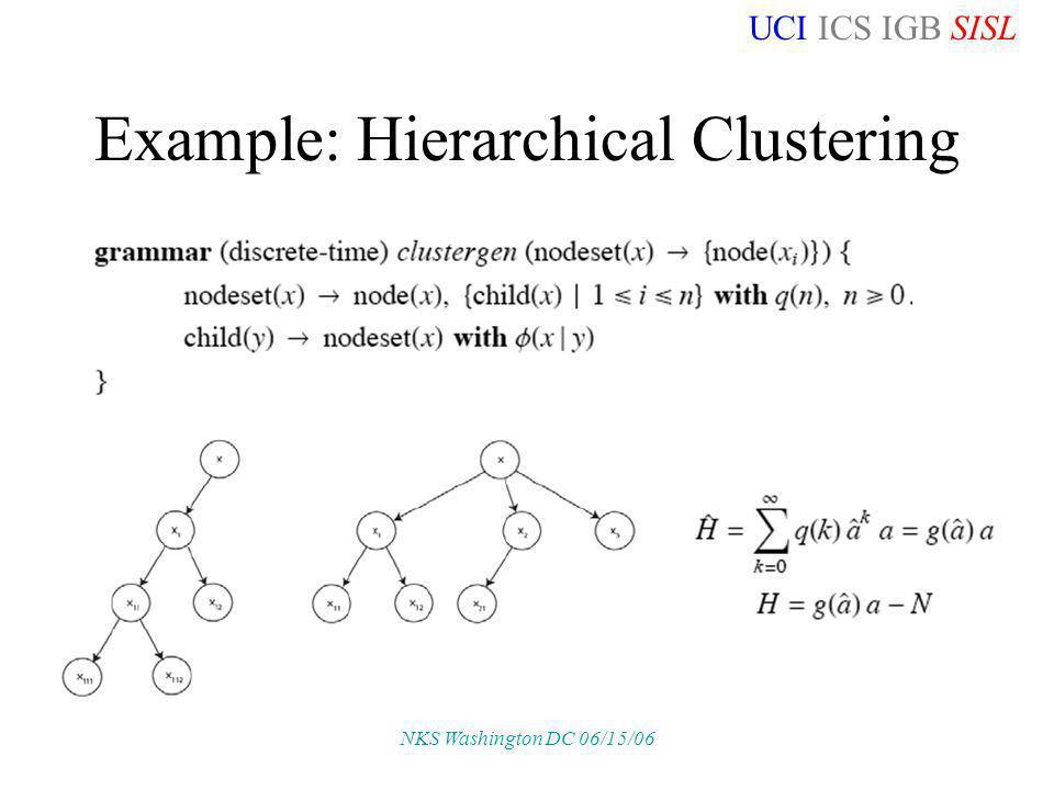 UCI ICS IGB SISL NKS Washington DC 06/15/06 Example: Hierarchical Clustering