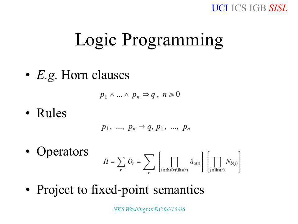 UCI ICS IGB SISL NKS Washington DC 06/15/06 Logic Programming E.g. Horn clauses Rules Operators Project to fixed-point semantics