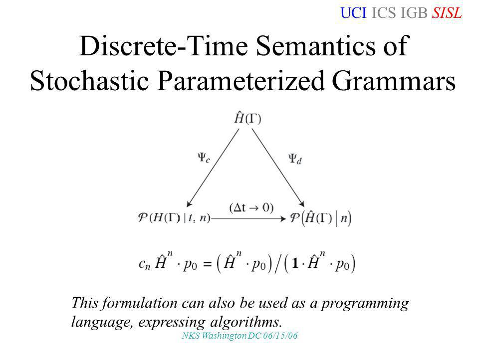 UCI ICS IGB SISL NKS Washington DC 06/15/06 Discrete-Time Semantics of Stochastic Parameterized Grammars This formulation can also be used as a programming language, expressing algorithms.