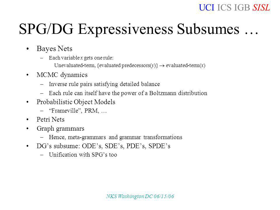 UCI ICS IGB SISL NKS Washington DC 06/15/06 SPG/DG Expressiveness Subsumes … Bayes Nets –Each variable x gets one rule: Unevaluated-term, {evaluated predecessors(y)} evaluated-term(x) MCMC dynamics –Inverse rule pairs satisfying detailed balance –Each rule can itself have the power of a Boltzmann distribution Probabilistic Object Models –Frameville, PRM, … Petri Nets Graph grammars –Hence, meta-grammars and grammar transformations DGs subsume: ODEs, SDEs, PDEs, SPDEs –Unification with SPGs too