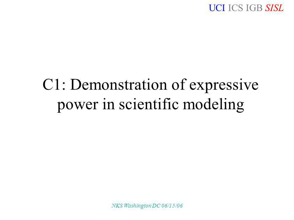 UCI ICS IGB SISL NKS Washington DC 06/15/06 C1: Demonstration of expressive power in scientific modeling