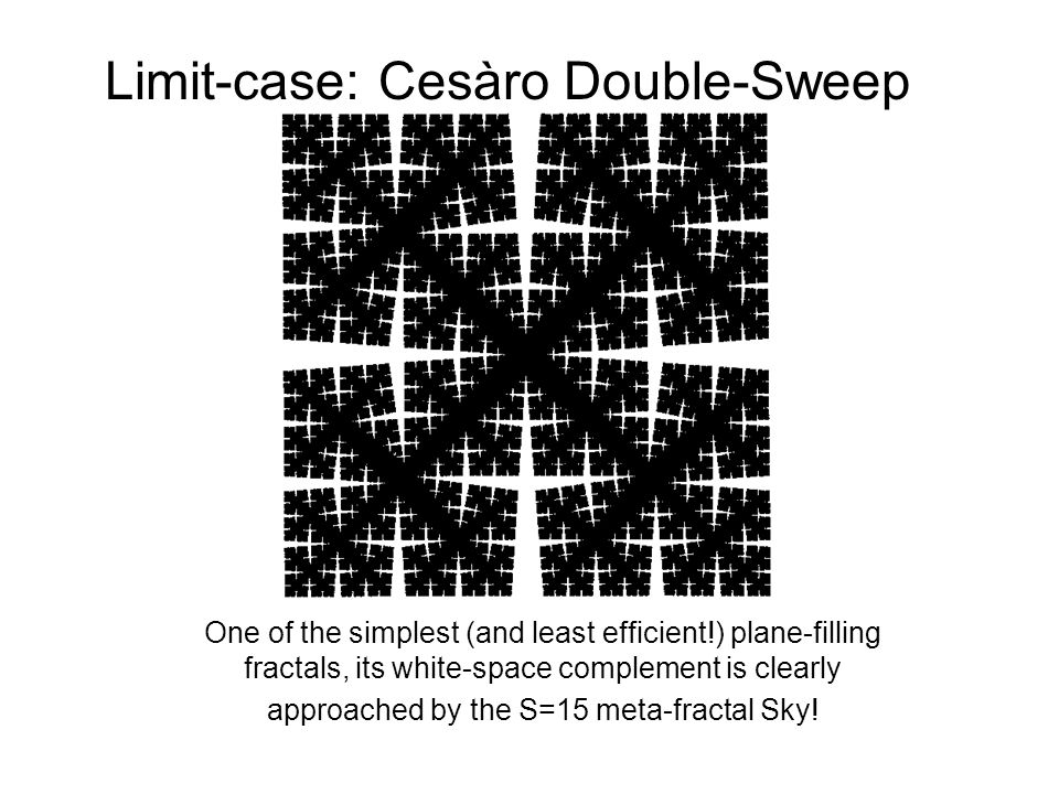 Limit-case: Cesàro Double-Sweep One of the simplest (and least efficient!) plane-filling fractals, its white-space complement is clearly approached by the S=15 meta-fractal Sky!