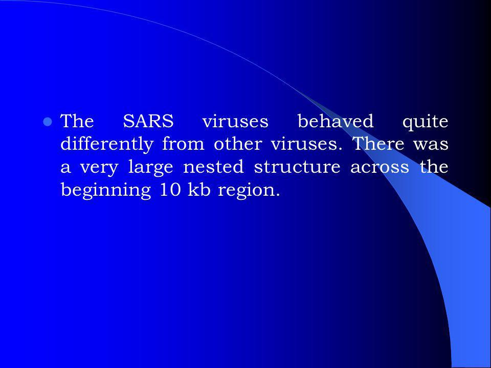 The SARS viruses behaved quite differently from other viruses.