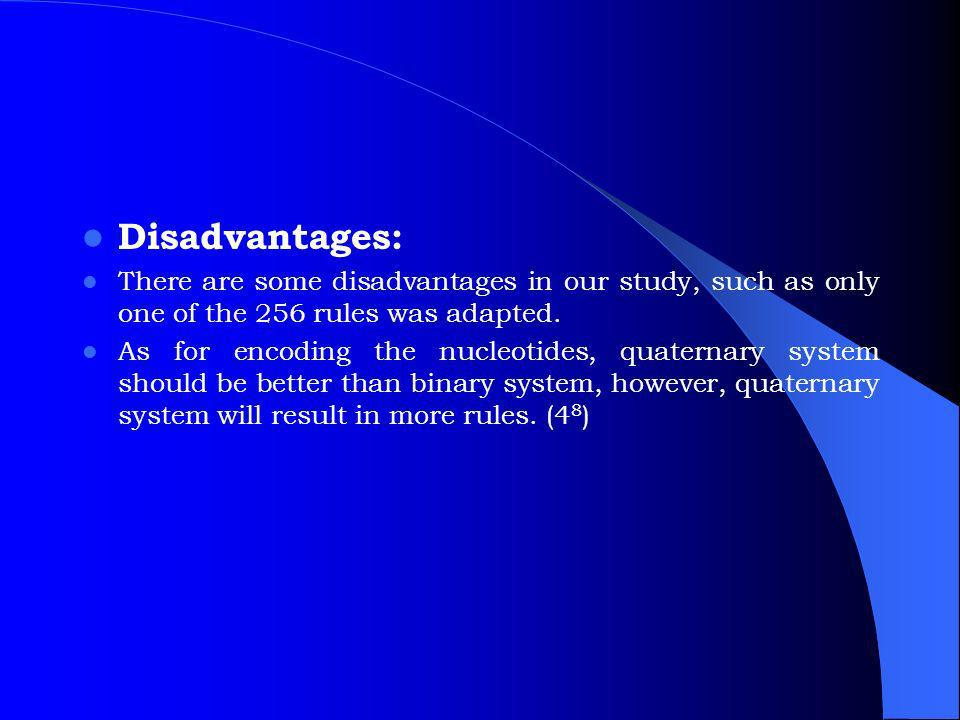 Disadvantages: There are some disadvantages in our study, such as only one of the 256 rules was adapted.