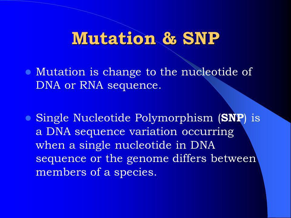 Mutation & SNP Mutation is change to the nucleotide of DNA or RNA sequence.