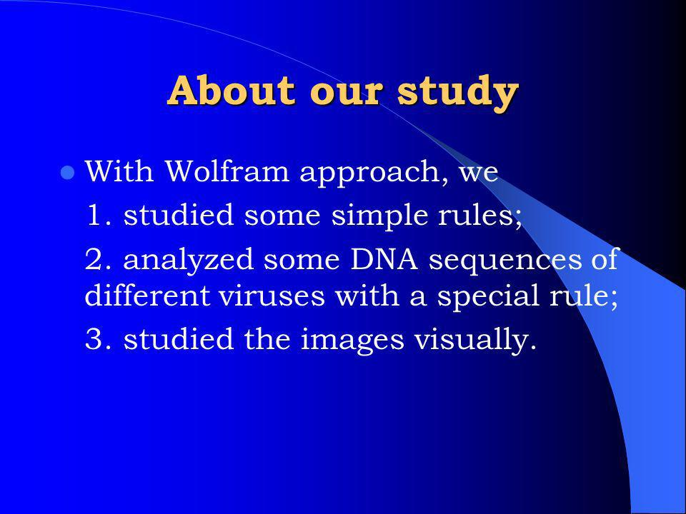 About our study With Wolfram approach, we 1. studied some simple rules; 2.