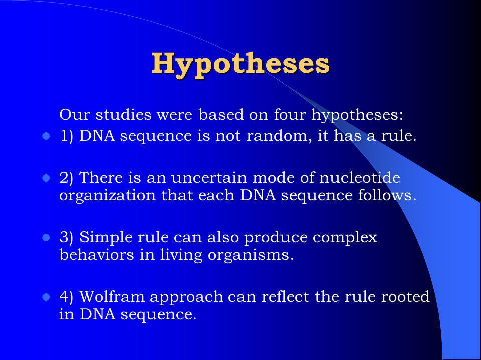 Hypotheses Our studies were based on four hypotheses: 1) DNA sequence is not random, it has a rule.