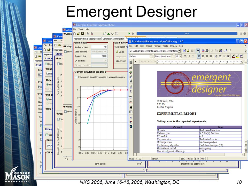 NKS 2006, June 16-18, 2006, Washington, DC 10 Emergent Designer
