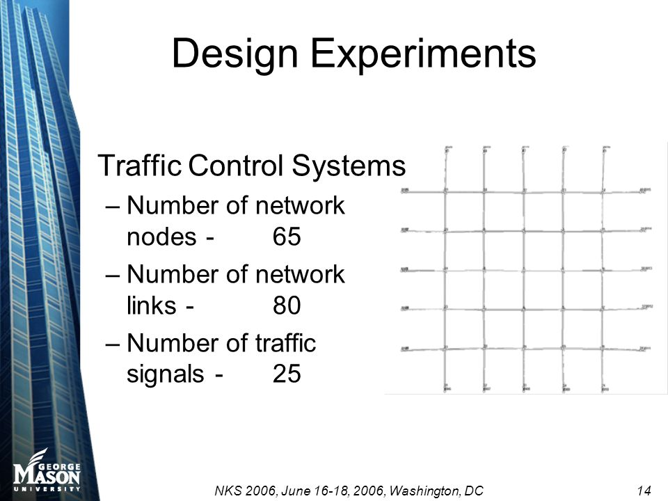 NKS 2006, June 16-18, 2006, Washington, DC 14 Design Experiments Traffic Control Systems –Number of network nodes- 65 –Number of network links -80 –Nu