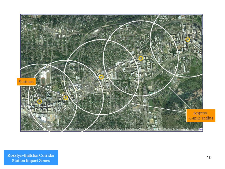 10 Rosslyn-Ballston Corridor Station Impact Zones Stations Approx. ½-mile radius