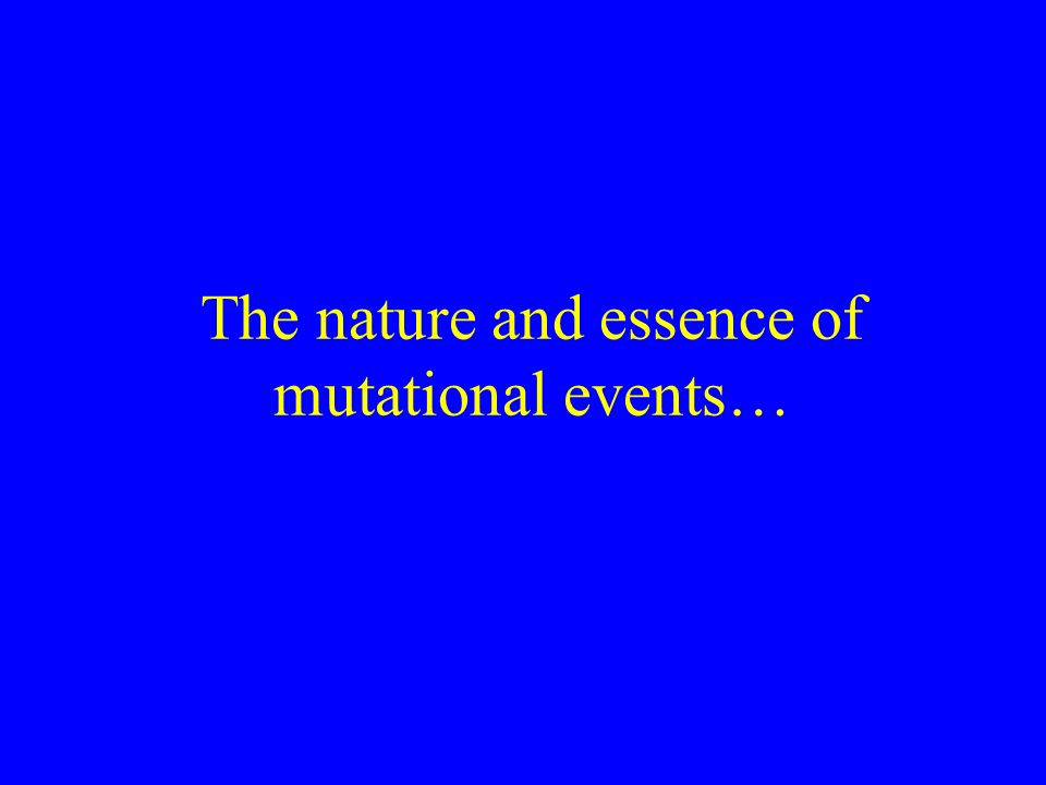 The nature and essence of mutational events…