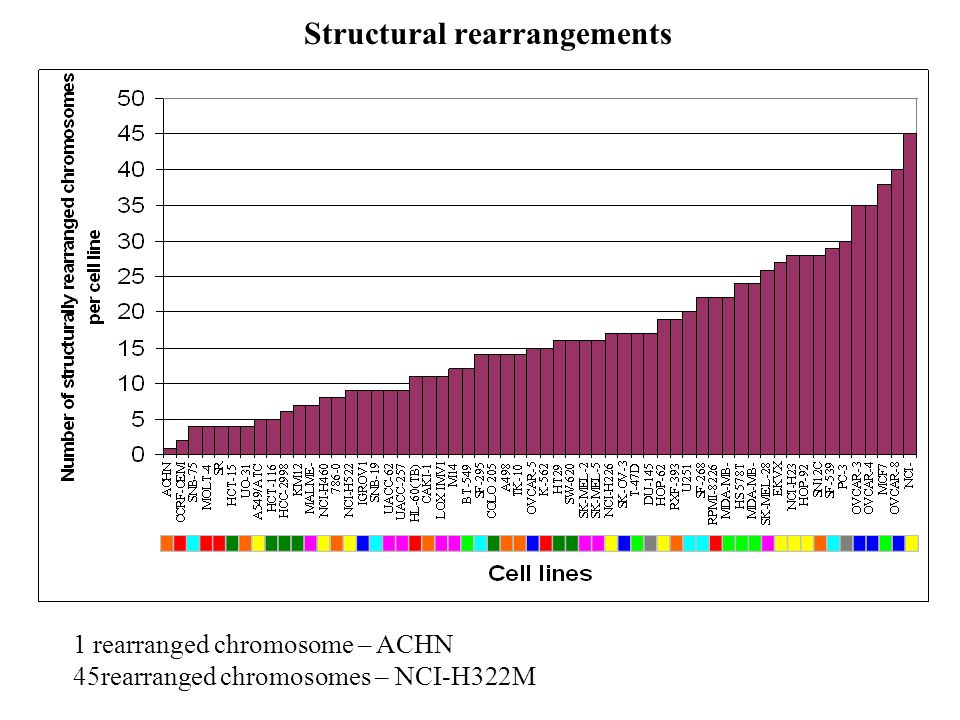 Structural rearrangements 1 rearranged chromosome – ACHN 45rearranged chromosomes – NCI-H322M