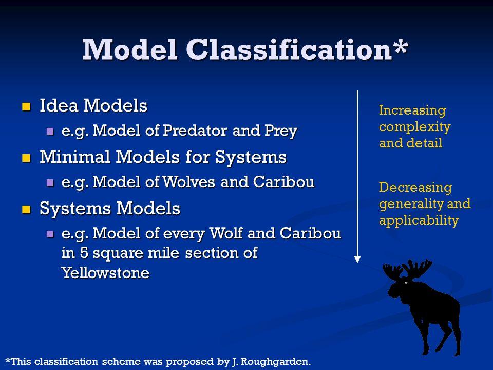 Model Classification* Idea Models Idea Models e.g. Model of Predator and Prey e.g. Model of Predator and Prey Minimal Models for Systems Minimal Model