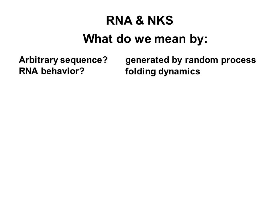 What do we mean by: RNA & NKS generated by random processArbitrary sequence? RNA behavior? folding dynamics