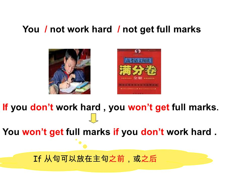You / not work hard / not get full marks If you dont work hard, you wont get full marks.