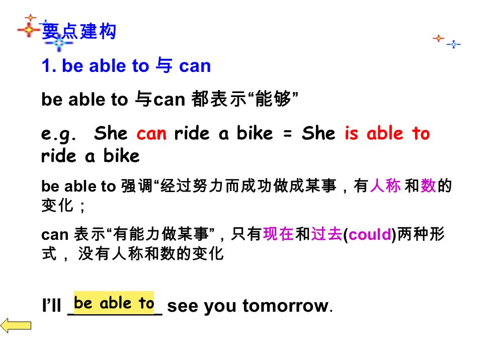 1. be able to can be able to can e.g.