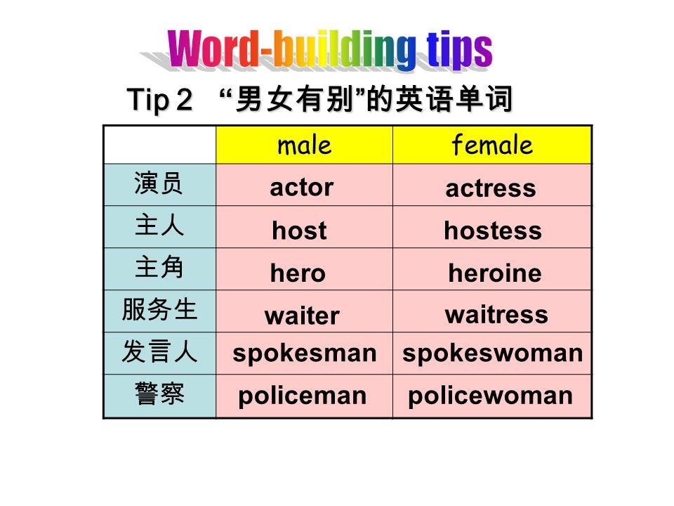 Tip 2 Tip 2 malefemale actor actress hosthostess heroheroine waiter waitress spokesmanspokeswoman policemanpolicewoman