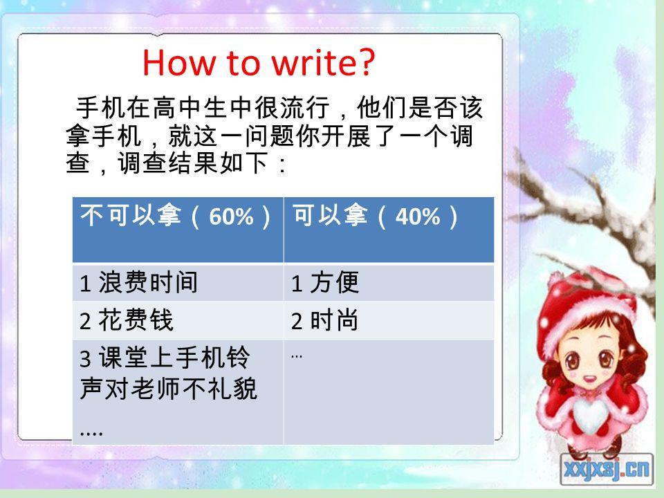 How to write? 60% 40% 1 1 2 2 3.......