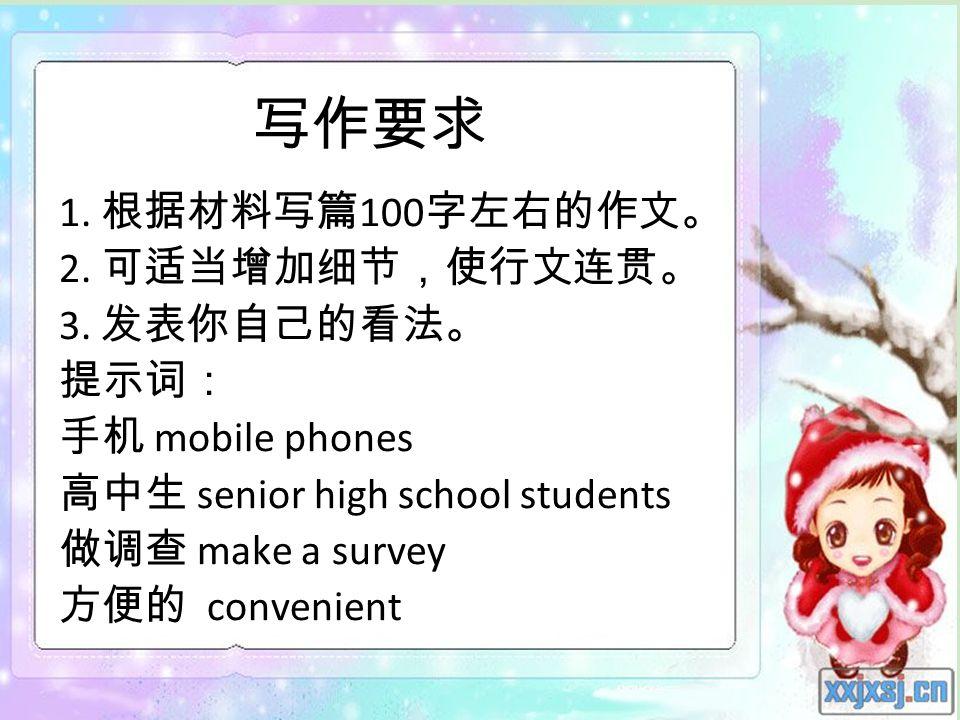 28.01.2014 1. 100 2. 3. mobile phones senior high school students make a survey convenient
