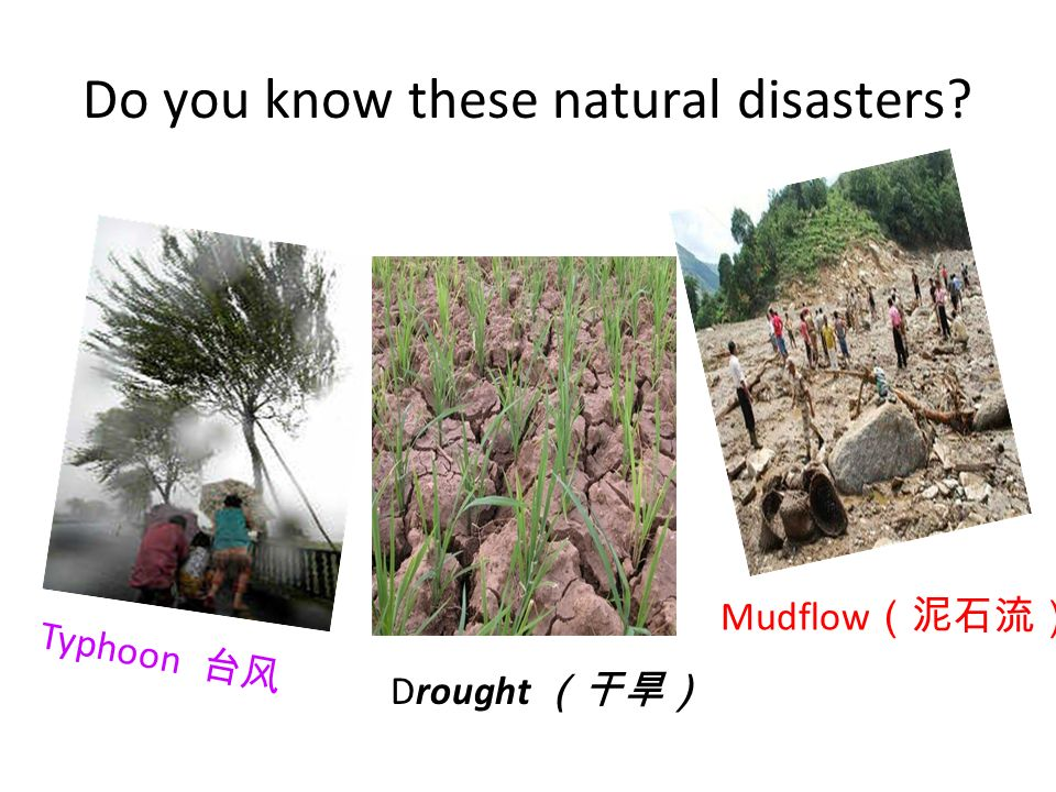 Do you know these natural disasters Typhoon Drought Mudflow