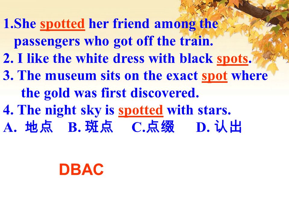 1.She spotted her friend among the passengers who got off the train. 2. I like the white dress with black spots. 3. The museum sits on the exact spot