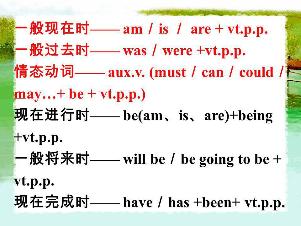 am is are + vt.p.p. was were +vt.p.p. aux.v. (must can could may…+ be + vt.p.p.) be(am is are)+being +vt.p.p. will be be going to be + vt.p.p. have ha