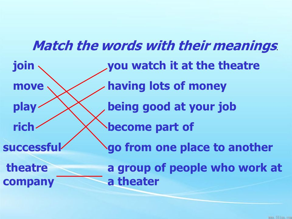 Match the words with their meanings.