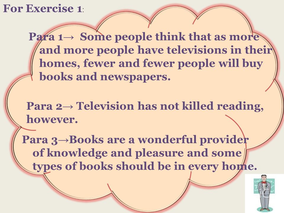 For Exercise 1 : Para 1 Some people think that as more and more people have televisions in their homes, fewer and fewer people will buy books and news