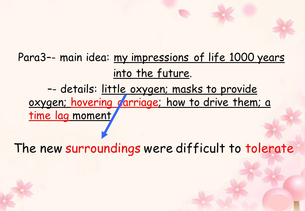Para3–- main idea: my impressions of life 1000 years into the future. –- details: little oxygen; masks to provide oxygen; hovering carriage; how to dr