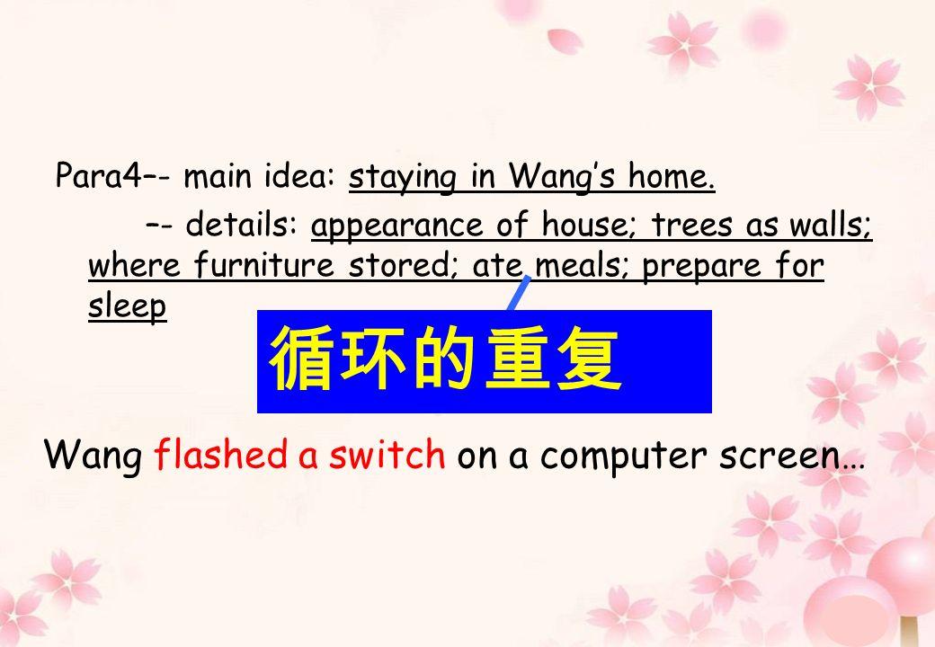Para4–- main idea: staying in Wangs home.