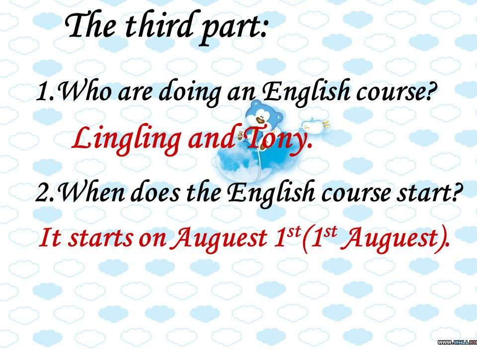 1.Who are doing an English course. 2.When does the English course start.