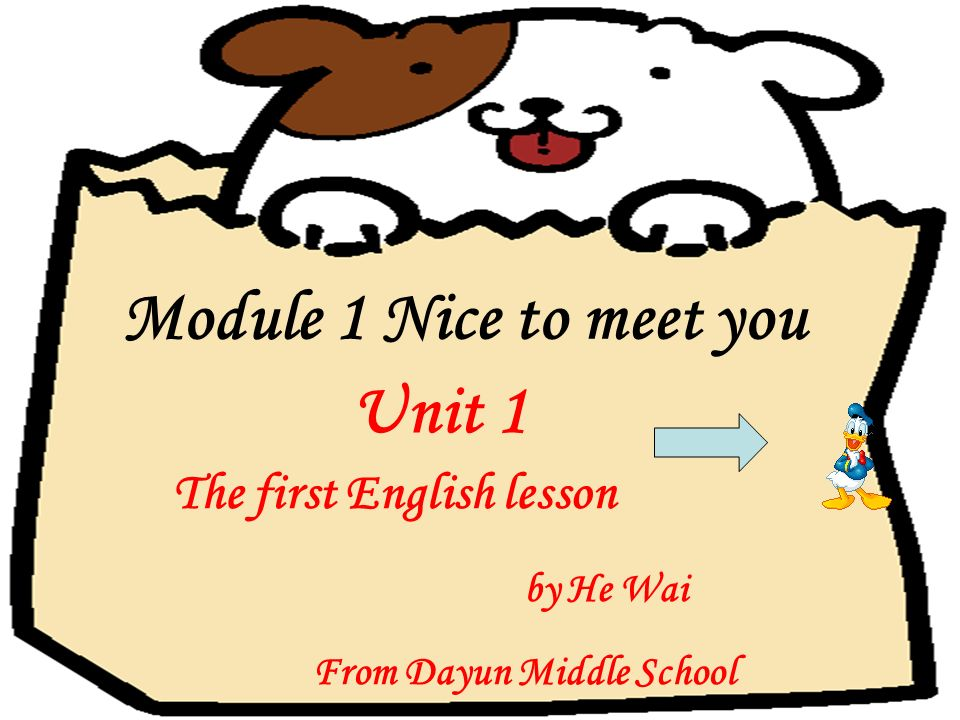 The first English lesson by He Wai From Dayun Middle School Module 1 Nice to meet you Unit 1