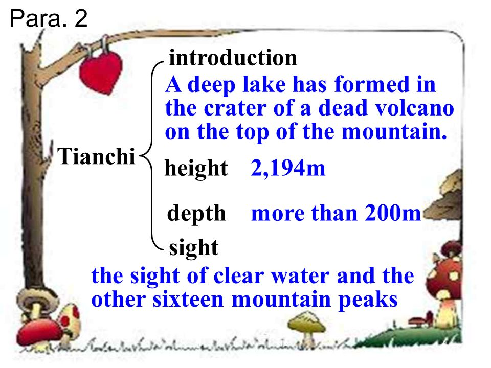 Changbaishan location position height rare animals the aims of visitors the most attraction varies from 700 m to 2,000 m Chinas largest nature reserve cranes, black bears, leopards and Siberian tigers to study the plants and animals ; to walk in the mountains; to see the waterfalls ; to bathe in the hot water pools Para.