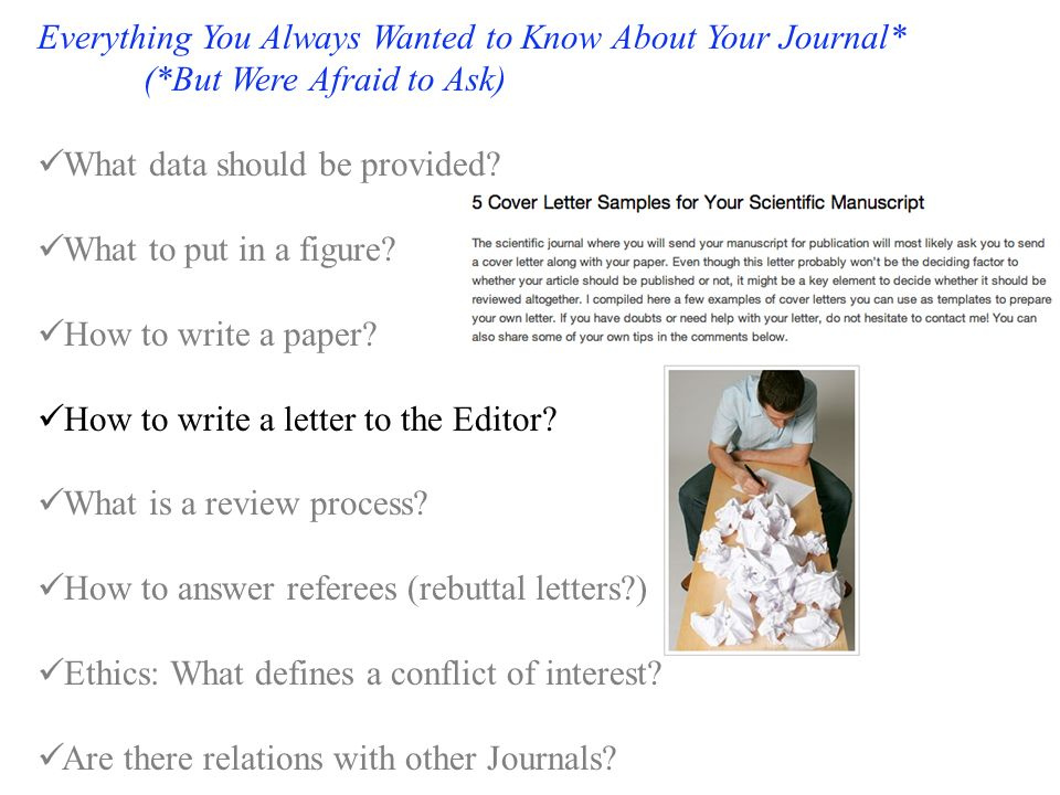 Everything You Always Wanted to Know About Your Journal* (*But Were Afraid to Ask) What data should be provided.