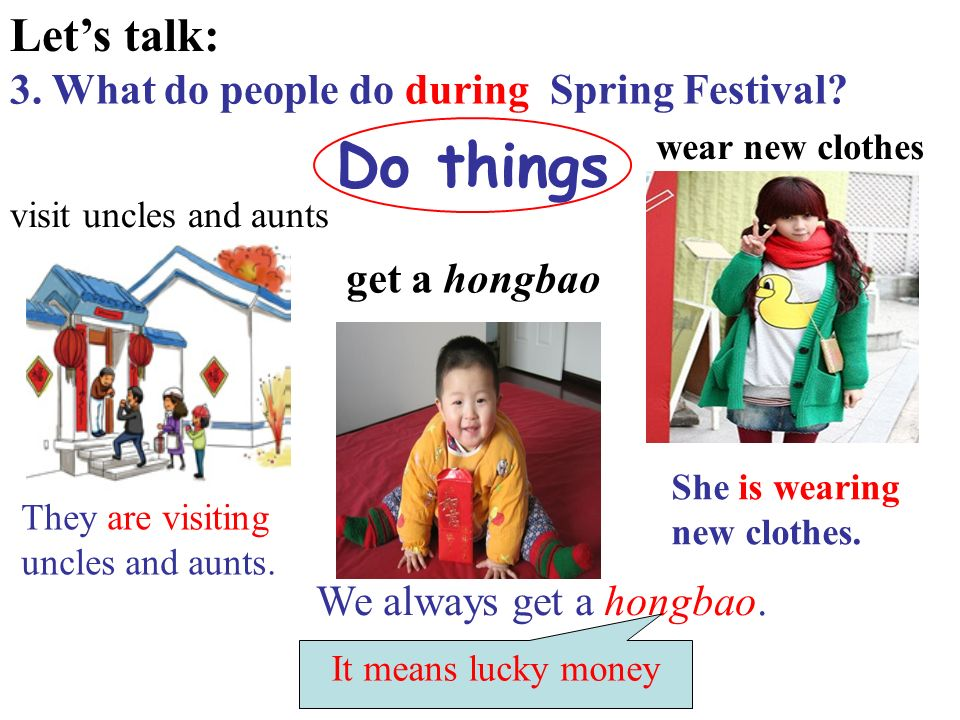 Lets talk: 3. What do people do during Spring Festival.
