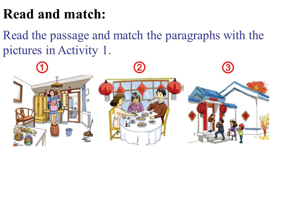 Read the passage and match the paragraphs with the pictures in Activity 1. Read and match:
